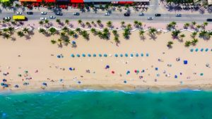 Beach in Fort Lauderdale. A view from the sky.