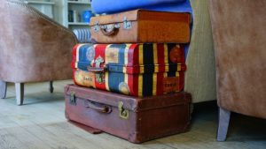 Three small small suitcases