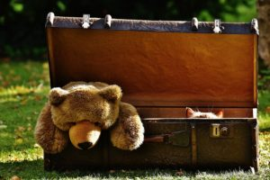 A suitcase with tedy bear