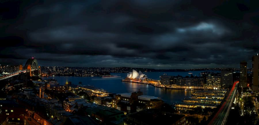 a view of Sydney by night