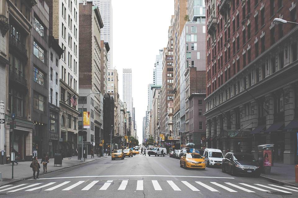 New York City apartment buildings.