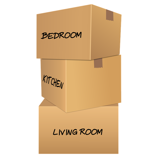 Differently labeled moving boxes that you will pack for relocation.