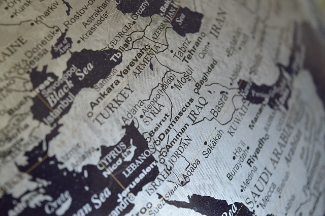 Map of beautiful places in Middle East.