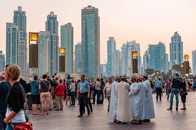 People walking in Dubai.