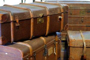 Travel trunks.
