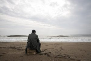 Alone person on the beach