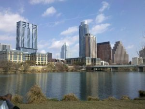 The view of Austin across the river.