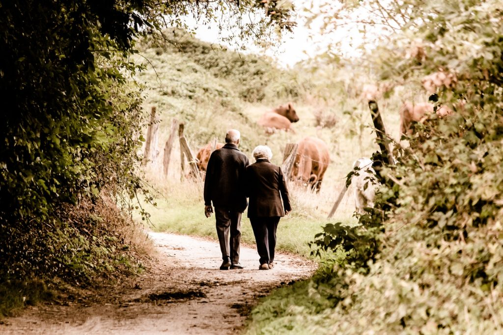 Senior pair walking on the country road..