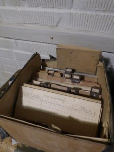A box full of files and documents.