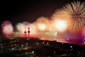 Fireworks in Kuwait at night