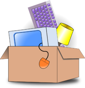 A box containing a computer and other gadgets packed according to the tips in the moving guide for college students