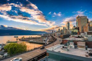 Seattle marina during a beautiful sunrise.