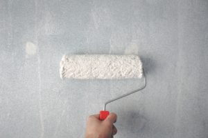 A person painting a wall in white.