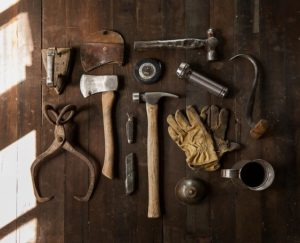 Various tools on a table.