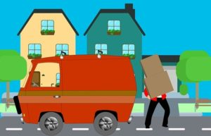 An illustration of a man loading a moving box into a van while moving in Boca Raton.