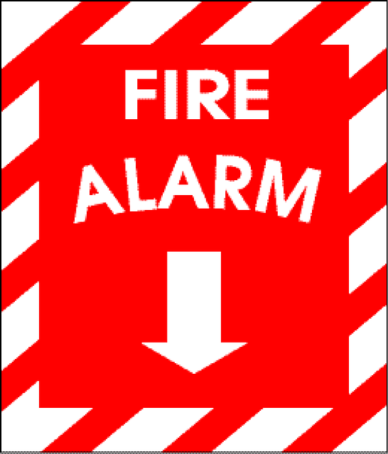 Fire alarm sign.