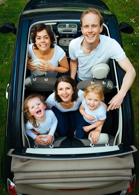 The family in a car ready to explore Lewis Center, OH.