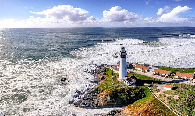A lighthouse in one of the places in California you'll fall in love with.