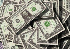 Dollar banknotes.