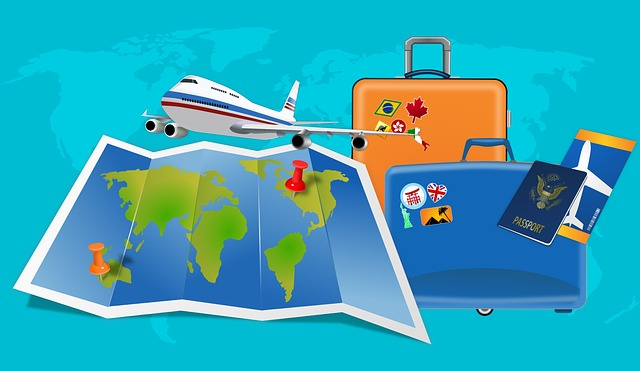2 suitcases, a map, an airplane and a passport with a plane ticket on a light blue background.