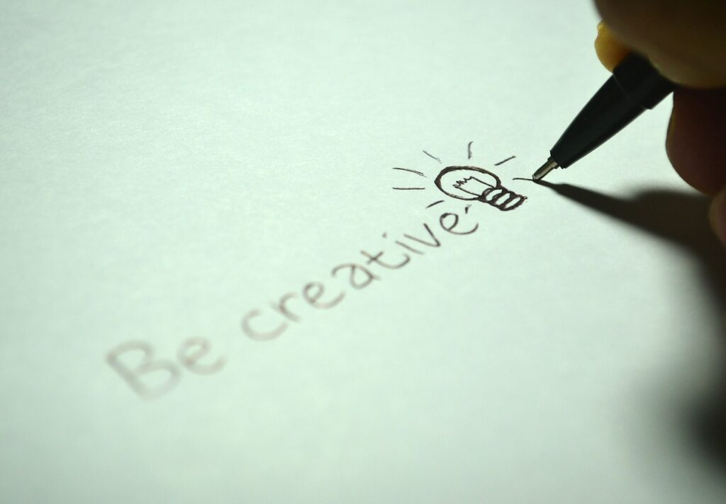 Be creative written on a piece of paper.