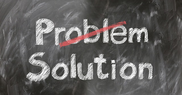 A problem and a solution writing on a black board.