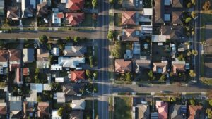An image of a bird view of houses